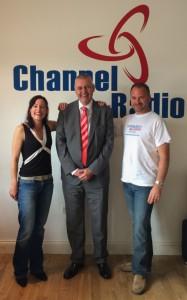 Laura Burton-Lawrence, Roland Gooding OBE, Russell Burton-Lawrence in the Channel Radio studio