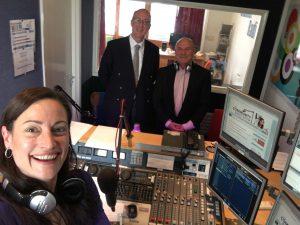 Laura Burton-Lawrence, Cllr Roddy Hogarth and Ken Tymms in the Channel Radio studio